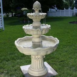 Sunnydaze 3-Tier Outdoor Water Fountain with Pineapple Color