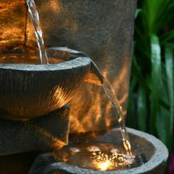 5-Tier Rock Water Fountain Garden Electric Fall with LED Lig