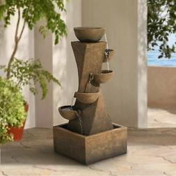 """Cascading Bowls 27 1/2"""" High Water Fountain with LED Light"""