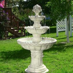 Sunnydaze Four-Tier Electric Outdoor Water Fountain with Fru