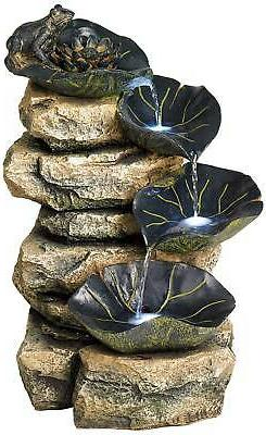 Frog and Four Lily Pad LED Lighted Outdoor Fountain
