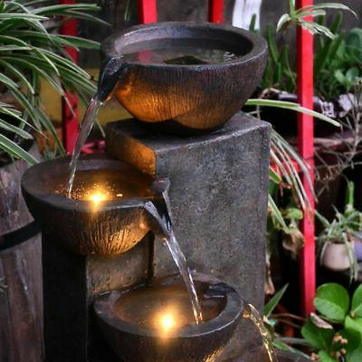 Outdoor Electric Rock Water Fall Fountain with LED Lights 5-