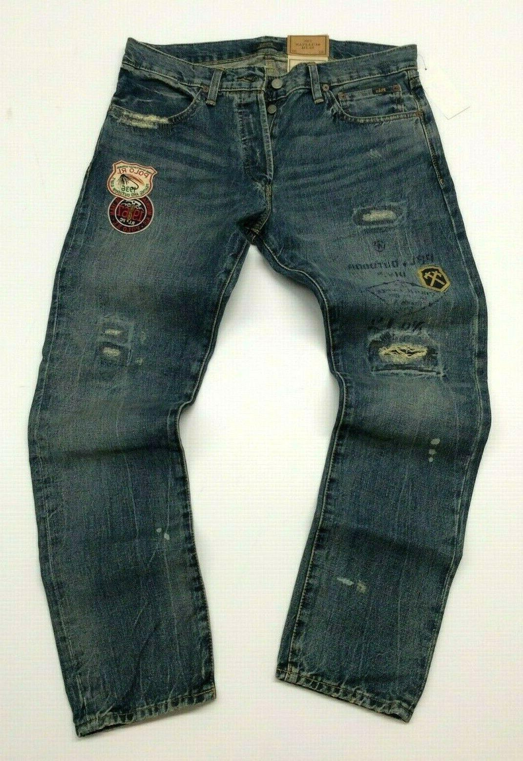 Polo Ralph Patched Varsity Repaired Royal Outdoors Jeans