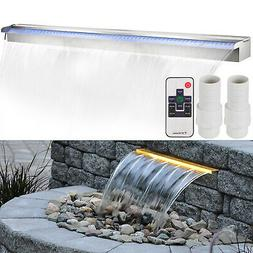 """Lighted 59"""" Stainless Steel Spillway Color Changing Garden O"""