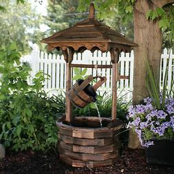 Sunnydaze Old-Fashioned Wood Wishing Well Fountain with Line