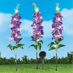Garden Lighted Purple Flowers Outdoor Solar Stakes 3Pcs East