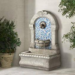 """Outdoor Water Fountain with 30.25"""" High and Blue Tile Faux S"""