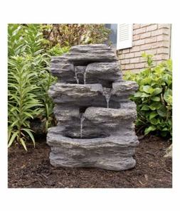 Outdoor Water Fountain With Cascading Waterfall, Natural Loo
