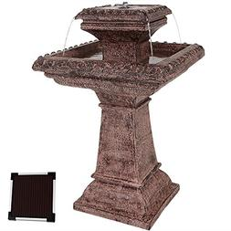 Sunnydaze Richwell Solar Power Outdoor Water Fountain with L