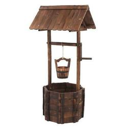 Rustic Wooden Wishing Well Planter Yard Decoration Fountain