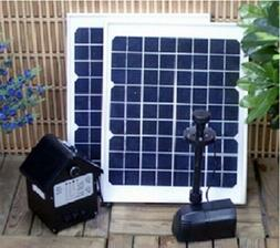 Solar Pond Fountain Water Pump W/ Battery Timer Light Combo
