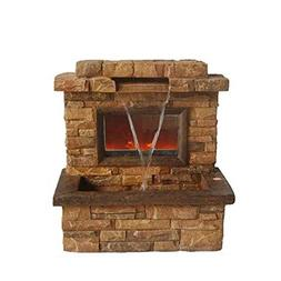 """24.75"""" Tawny and Umber Brown Faux Stone Fireplace Waterfall"""
