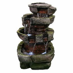 Sunnydaze Tiered Stone Fountain with LED Light