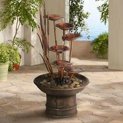 """John Timberland Water Lilies and Cat Tails 33"""" High Fountain"""
